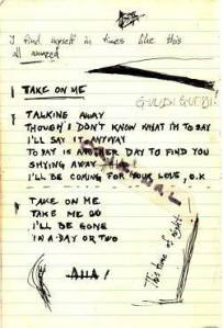 Page of Paal's diary with Take On Me Lyrics