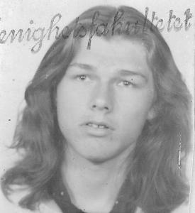 Morten on a school book in 1974